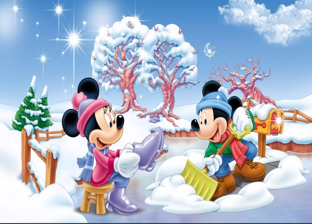 7x5ft Christmas Minnie Mickey Snow Field Garden Fence