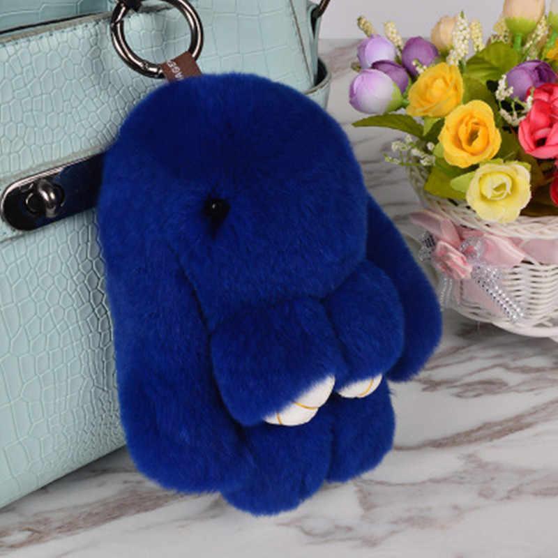 Pluff bonito Chaveiro Coelho Rex Genuína Pele De Coelho Chaveiro Para As Mulheres Saco de Brinquedos Boneca Fofo Pom Pom Pompom Lindo chaveiro 14 CM