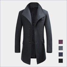 Зимний мужской Отворот Шерстяной Пиджак Утолщенной Сплошной Цвет Кашемир больше Куртку Ветрозащитный Воротник мужской Пальто 3XL Черное Пальто MK501