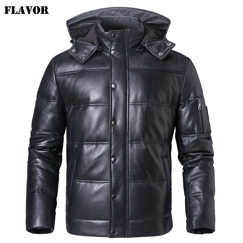 FLAVOR Men's Real Leather Down Coat Men Genuine Sheepskin Biker Winter Warm Leather Coat With Removable Hood