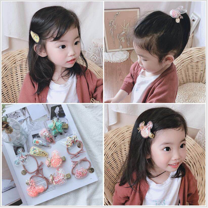 2019 NEW 6PCS transparent animal hair clips for girls mini bow elastic rubber bands ties accessories