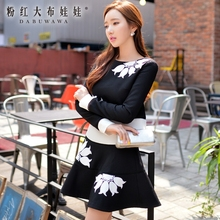 dabuwawa brand 2016 new arrival flower embroidery fashion a word two piece sets skirt and top for women autumn spring wholesale