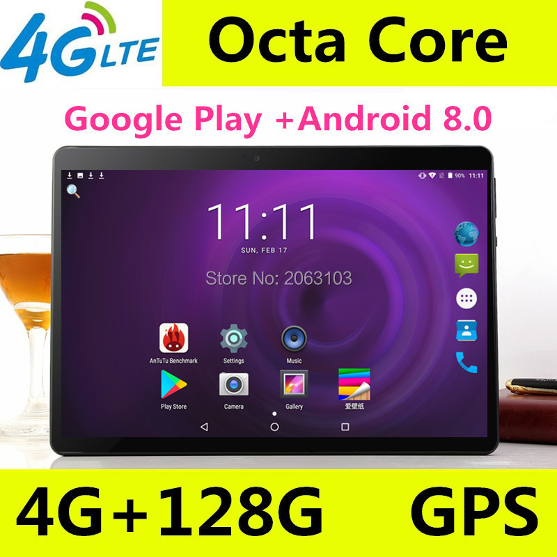Free Shipping 10 Inch Octa Core IPS Tablet  3G 4G FDD LTE Phone Call Android 8.0 WiFi GPS Tablet 4GB RAM 64GB ROM Media Pad 10