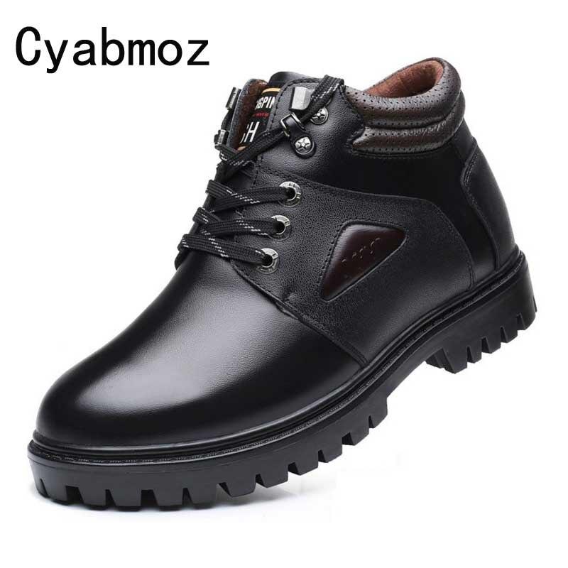 Мужская увеличивающие рост обувь натуральная кожа удобные шерсть теплые зимние сапоги Открытый кроссовки для мужчин зима лифт пинетки