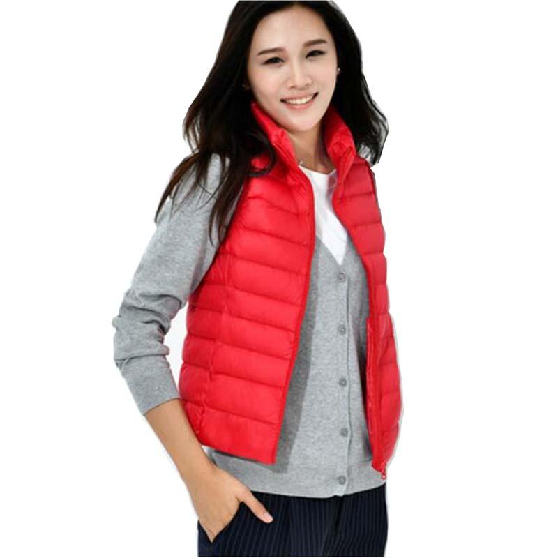 2018 Women Autumn Winter sleeveless Ultra Light White Duck   Down     coat   Vest Female Slim Vest Women's Warm Waistcoat LY779