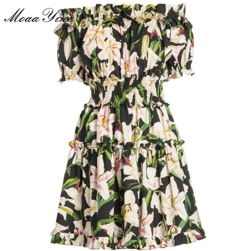 MoaaYina Fashion Designer Runway Cotton Dress Summer Women Short sleeve Slash neck lily Floral Print Elastic