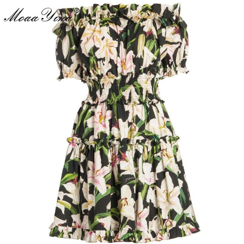 MoaaYina projektant mody pas startowy bawełniana sukienka lato kobiety z krótkim rękawem Slash neck lilia kwiatowy Print elastyczny pas elegancka sukienka w Suknie od Odzież damska na  Grupa 1