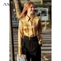 Amii минималистский 100% шелк для женщин блузка 2019 Повседневная с длинным рукавом Твердые Зубчатый воротник Польша show