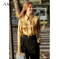 Amii Minimalist 100% Silk Women Blouse 2019 Causal Long Sleeve Solid Notched Collar Poland show