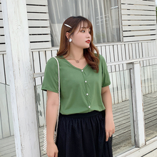 New fashion Korean version of womens plus-size loose short-sleeved T-shirt base 2107