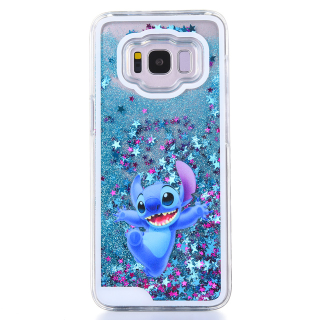 Cute cartoon phone case for Samsung Galaxy S8 plus case Minnie Stitch Pooh mickey Liquid Quicksand case for Samsung s8 plus