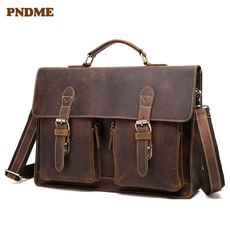 PNDME Винтаж crazy horse кожаный мужской портфель с ремешком на спине geunine кожаный офисный ноутбук сумка на плечо сумка мессенджер