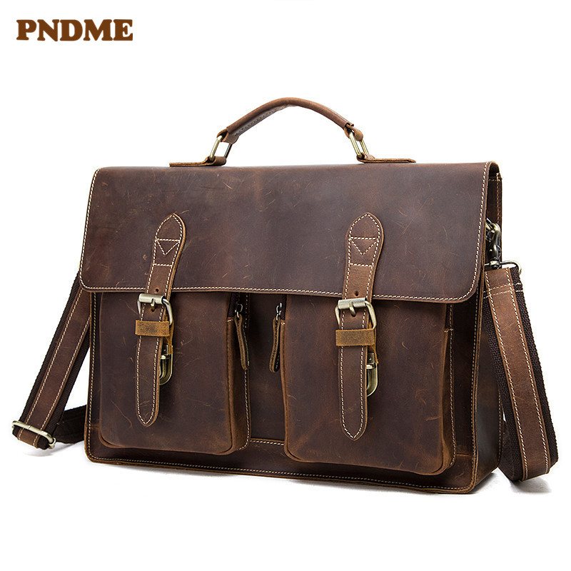 PNDME Vintage Crazy Horse Leather Men Briefcase With Back Strap Geunine Leather Office Laptop Shoulder Bag Lawyer Messenger Bag