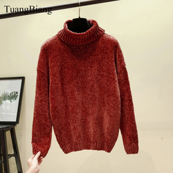 Chic Vintage chenille Cashmere Womens Full sleeve Gold velvet Sweaters Winter Ladies Solid Turtleneck Loose female jumpers 2019 5