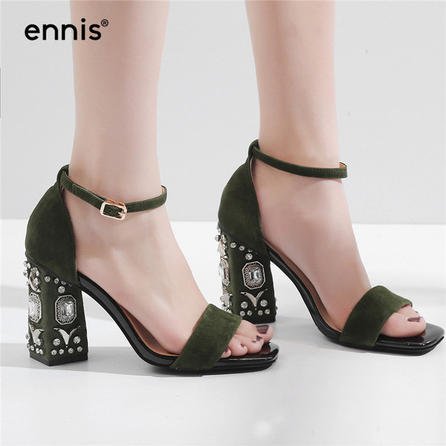 New arrival ankle straps leather sandals rhinestone 8cm high heel comfortable sandals many kinds of for sale FgVW8tnVL