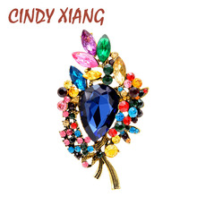 CINDY XIANG Crystal Leaf Brooches For Women Vintage Large Flower Brooch Pin Wedding Bouquet Accessories  Jewelry 6 Colors Choose