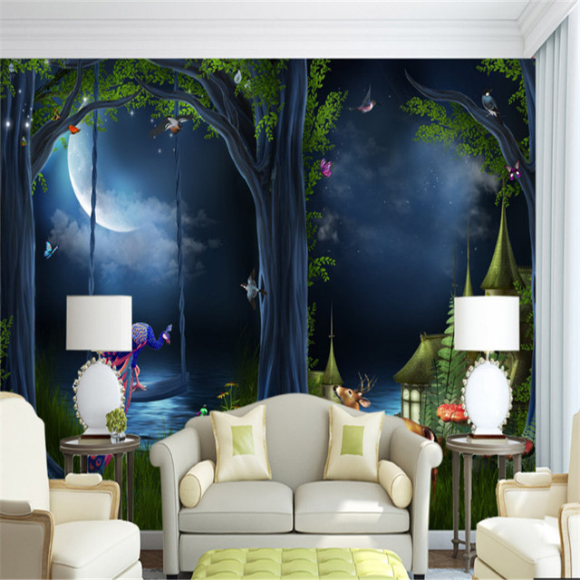 Wallpapers Youman Custom 3d Fantasy Fairytale Forest Moonlight Wallpaper 3d  Bedroom Study Sofa Background Mural Wall