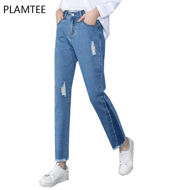Boyfriend Jeans For Women Personality Hit Color High Waist Denim Pants Harajuku Hole Pantalones Mujer Casual Burr Trousers