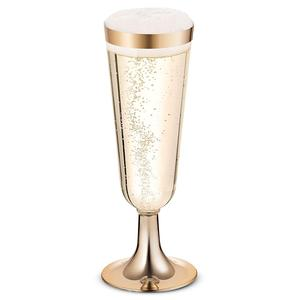 Image 2 - Plastic Gold Rimmed Champagne Flutes 5.5 oz. Clear Hard Disposable Party & Wedding Glass Premium Heavy Duty Fancy Cup 25pack