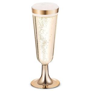 Image 2 - 플라스틱 골드 rimmed 샴페인 피리 5.5 oz. clear 하드 일회용 파티 및 웨딩 유리 프리미엄 헤비 듀티 팬시 Cup 25pack