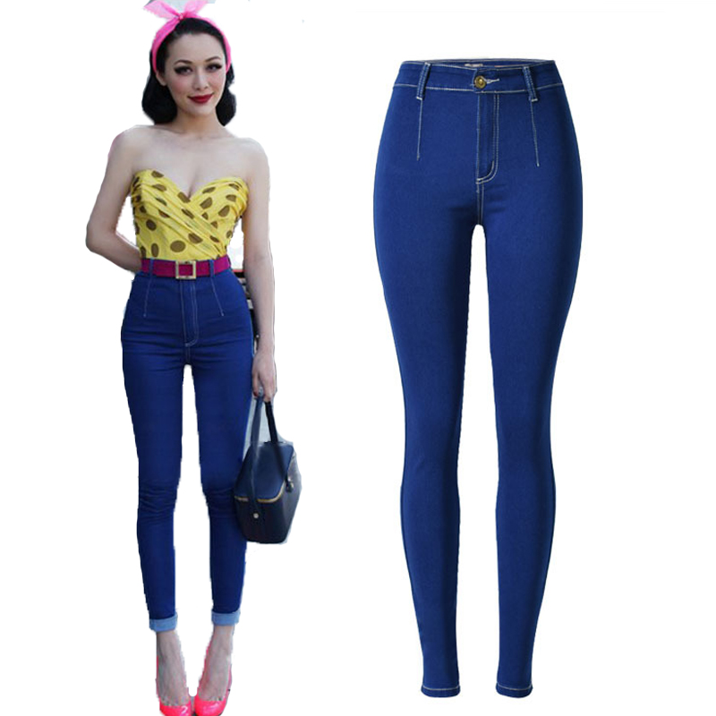 ФОТО 2016 Fashion Skinny Jeans Woman High Waist Denim Jeans Womens Pants Sexy Slim Stretch Blue Jeans