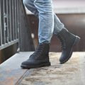 New winter lace-up Martin motorcycle boots with flat British fashion handsome men military  tooling boots