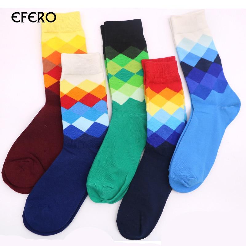 efero 5pair Mens Dress Socks Plaid Calcetines Gradient Color Cotton Socks for Men Casual Long Hip Hop Socks Chaussette Homme