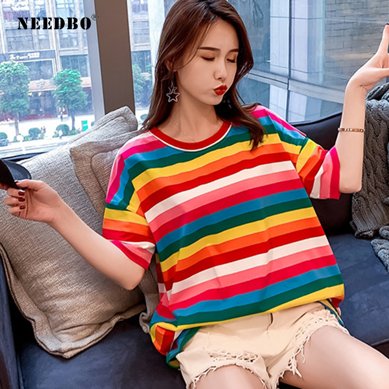 NEEDBO Women Tshirt Cotton 2019 Funny Striped Womens T Shirt Rainbow Tops & Tees Female Plus Size Loose Casual Tshirts For