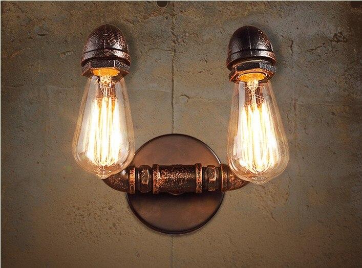 Nordique loft industriel 2 têtes lampe de conduite deau applique
