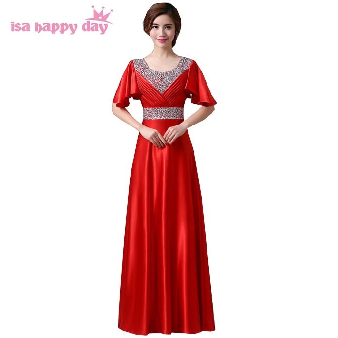 v neck mariage floor-length satin women long elegant   bridesmaids     dress   beaded red cap sleeve   bridesmaid   for weddings H1382