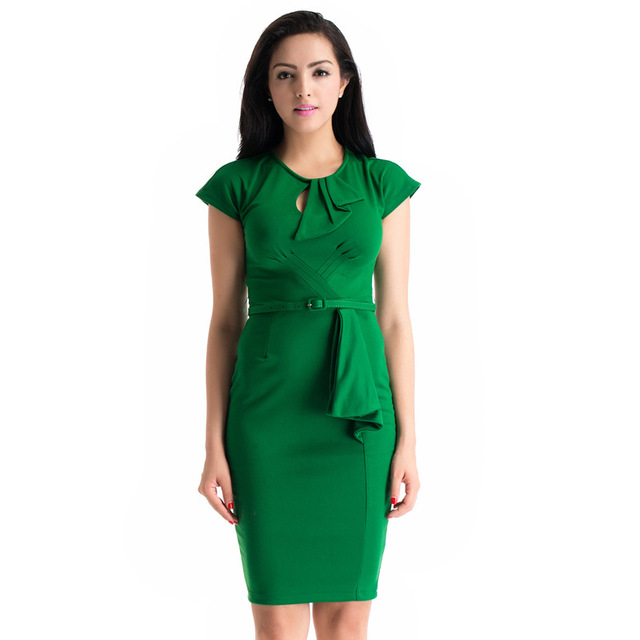 7d69f306319f Autumn Winter Vintage 60s Emerald Green Mid Calf Dress Plus Size Retro 50s  Style Body Con Dresses Batwing Sleeve Robe Annee 50
