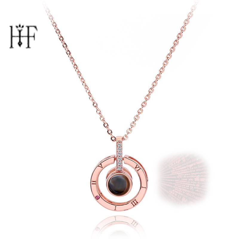 Rose Gold Silver 100 languages I love you Projection Pendant Necklace Romantic Love Memory Wedding Necklace