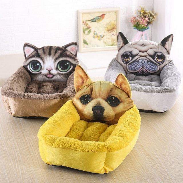 3D Realistic Pattern Pet Bed Soft Kennel Pet Mat Dog Beds for Small Dogs Cat Rabbit Puppy Beds Animal Supplies Warm Cattery