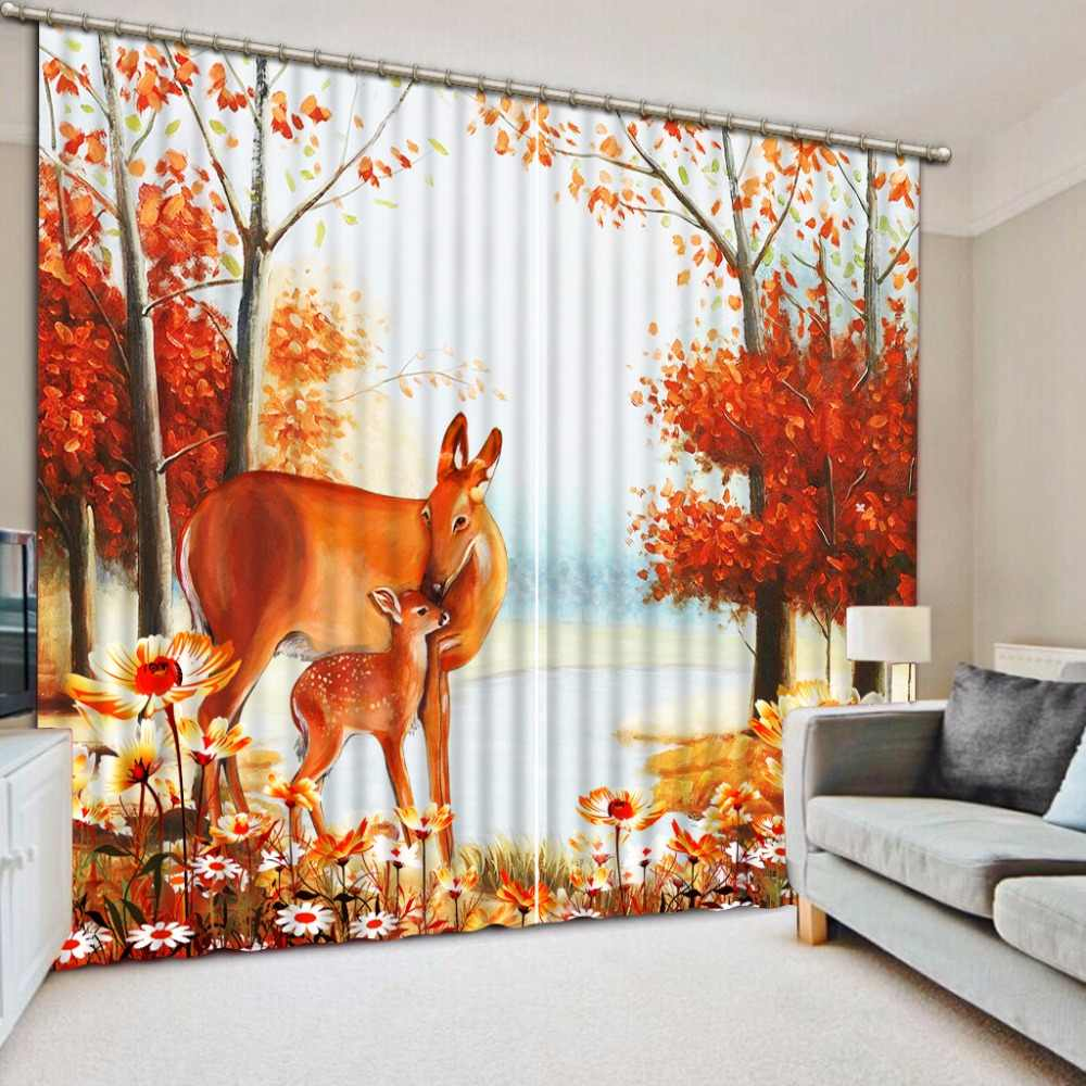3D Curtain Home Bedroom Decoration Curtain Background Deer Oil Painting Maple Leaf Flower Red Curtains Window Curtain String