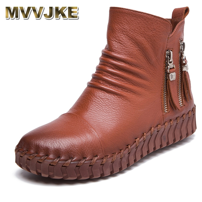 MVVJKE Genuine Leather Short Boots Plus Velet Winter Women s Shoes Handmade Sewing Soft Outsole Lazy