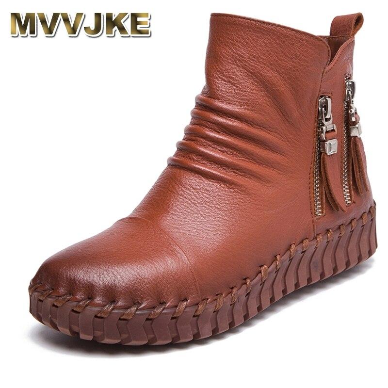 MVVJKE ของแท้รองเท้าหนังสั้น Plus Velet ฤดูหนาวรองเท้าผู้หญิง Handmade เย็บ Outsole Soft รองเท้าขี้เกียจรองเท้าคลอดบุตรแบน-ใน รองเท้าบูทหุ้มข้อ จาก รองเท้า บน   1