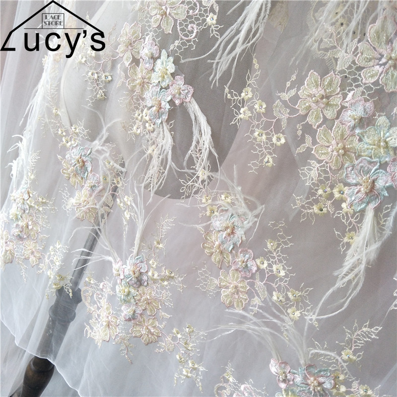 1 Yard 2017 Luxurious 3d lace fabric with Feather High end lady formal dress tulle lace Pearls beads sequins rhinestones lace
