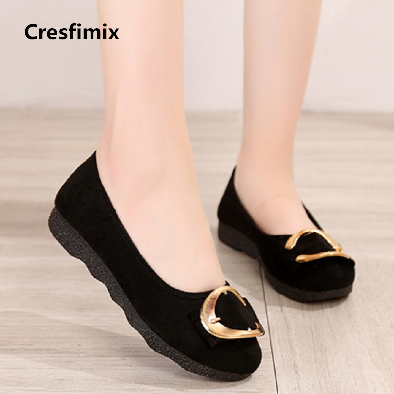 Cresfimix zapatos de mujer women fashion new flock flat loafers lady comfortable spring & summer slip on plus size shoes a2026 spring summer flock women flats shoes female round toe casual shoes lady slip on loafers shoes plus size 40 41 42 43 gh8