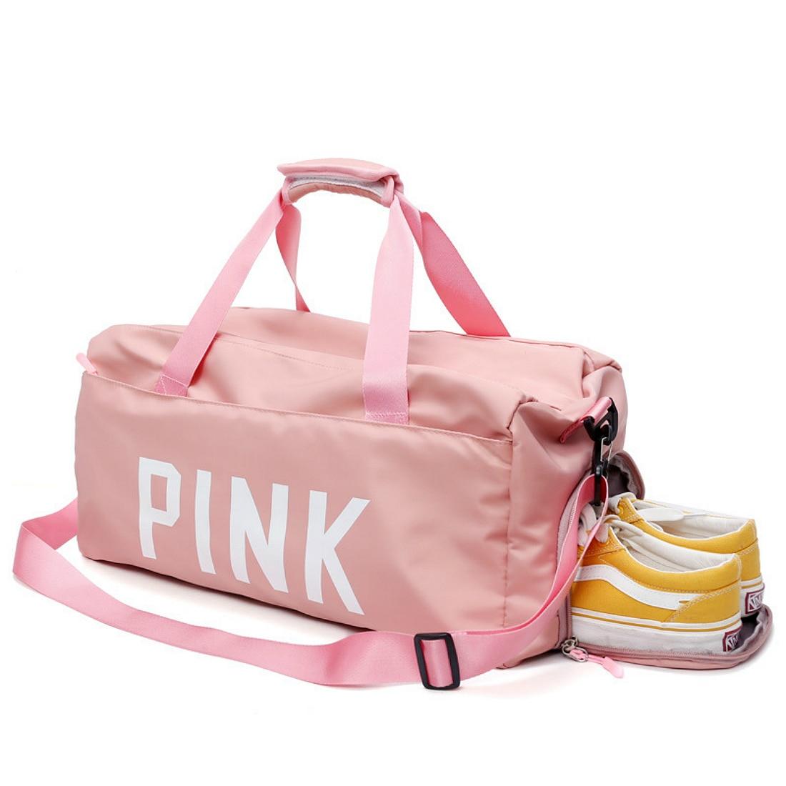 abd26a4c6c03 2018 black pink Print Outdoor Waterproof Nylon Sports Gym Bags Men Women  Girls Training Fitness Travel