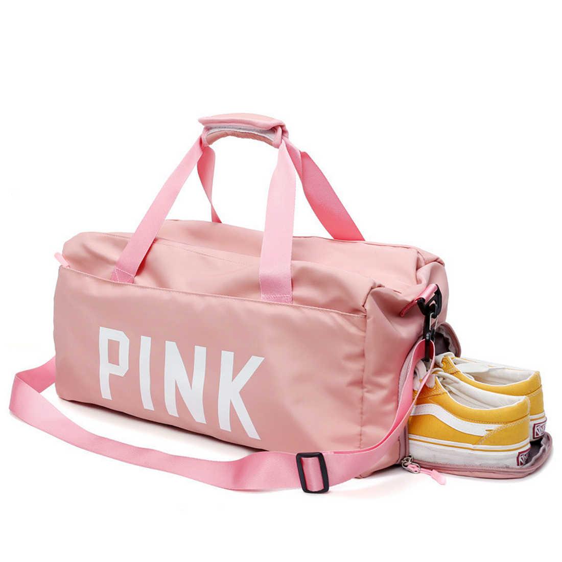2018 black pink Print Outdoor Waterproof Nylon Sports Gym Bags Men Women  Girls Training Fitness Travel d07257e97033b