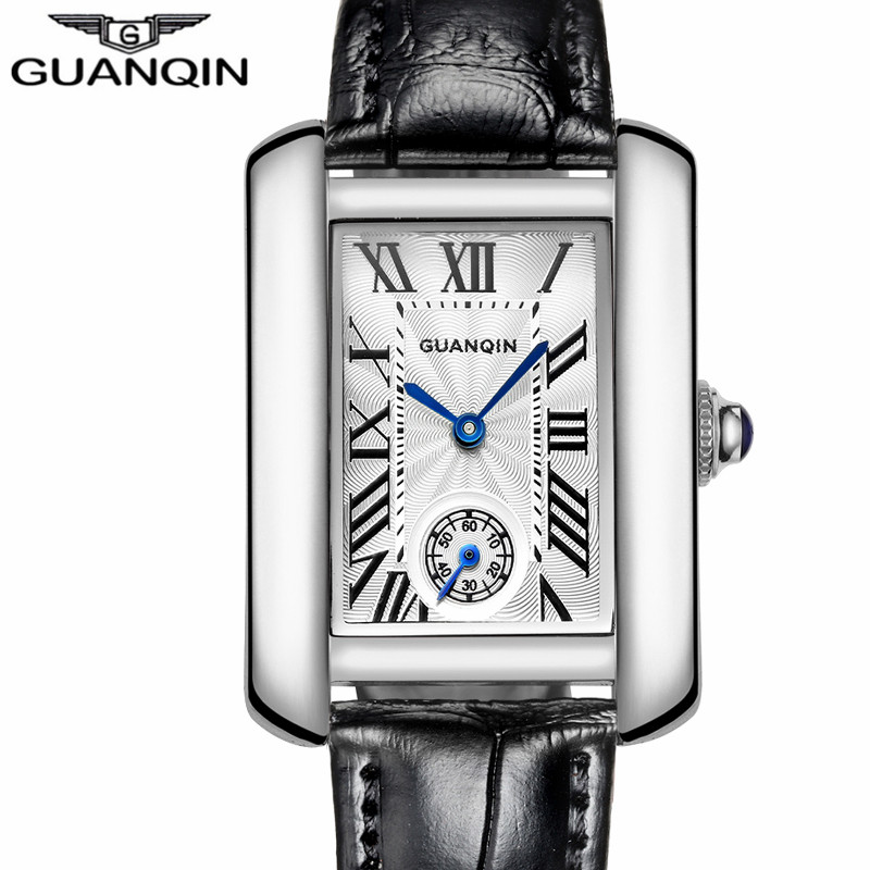 ФОТО Montre Femme GUANQIN Watches Women Fashion Casual Rectangle Quartz Watch Ladies Roman Numerals Leather Watches Relogio Feminino