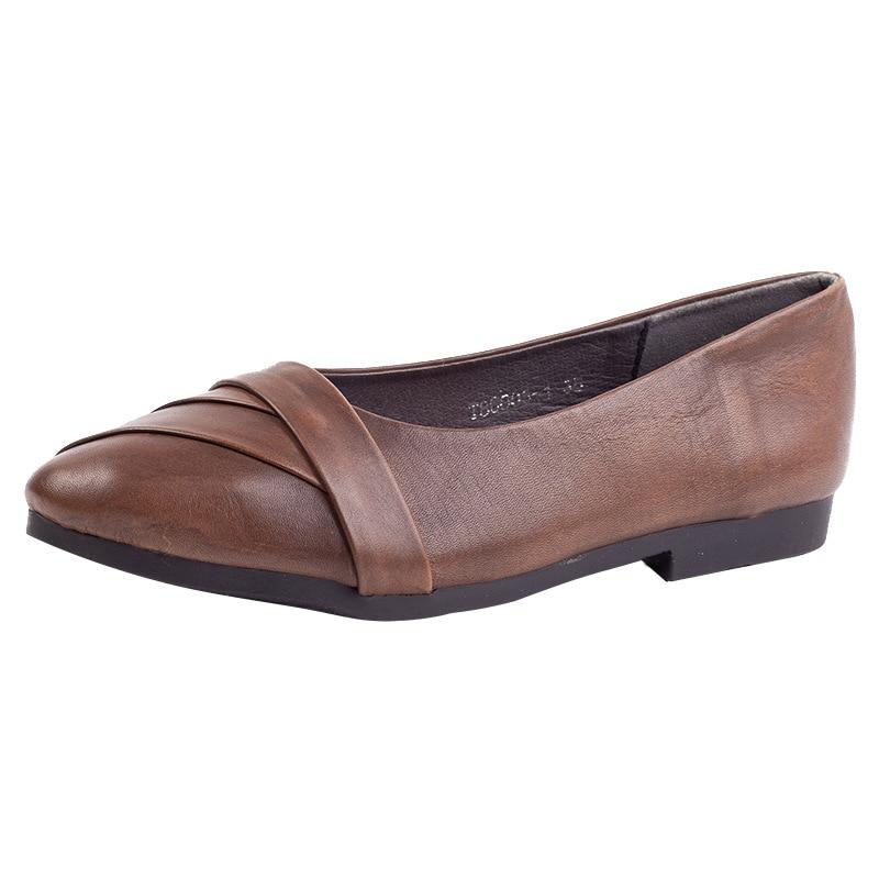 Cuero Negro otoño Genuino Punta coffee on Nuevo Primavera Planos Retro Mocasines Slip Casuales Zapatos Mujer 2019 De Johnature wfq4XUaa