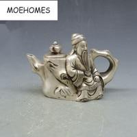 China Tibet Old Vintage decoration miao Silver Stumps, old man statue pot Teapot metal handicraft wine pot