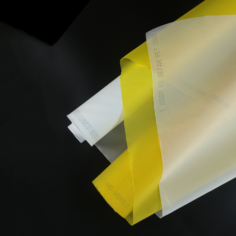 Free Shipping 50 Meters 77T 195mesh 55um 165cm Yellow and White Polyester Monofilament Silk Screen Printing