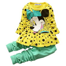 Kids Spring Fashion Baby Girls Clothes Sets Cartoon Sport Suits Long Sleeve T-shirt + Pants Color Bowknot Children Clothing Sets