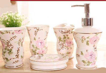 Fashion bathroom supplies ceramic bathroom set of five pieces wash set bathroom set bath tubs