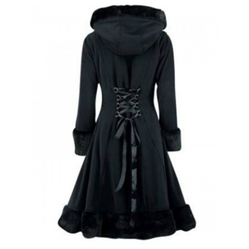 Clocolor Women Black Hooded Winter Wool Coat Full Sleeve Autumn Winter Warm Female Long Cloaks Outwear Back Lace Up Wool Coat 1