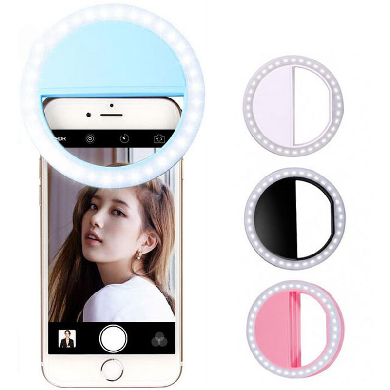 Portable Selfie Ring Flash Led Fill Light Lamp Camera Photography Video Spotlight for iphone 7 6 Samsung S8 Plus Xiaomi LG Phone