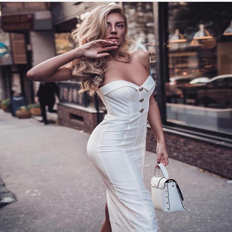 Summer derss women 2019 fashion style white black off shoulder bandage dresses sexy strapless mid calf club vestidos party dress