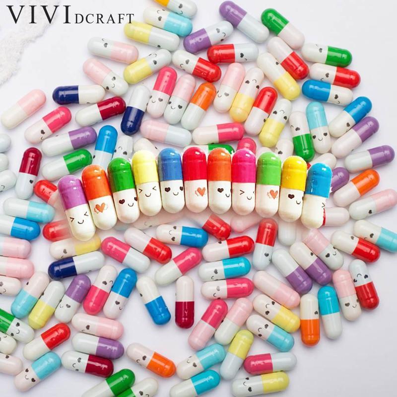 50pcs/set Cute Capsule Mini Paper Message Pvc Letter Storage Bottles Pill Wish Bottle Small Box Creative Craft 2cm X 0.8cm